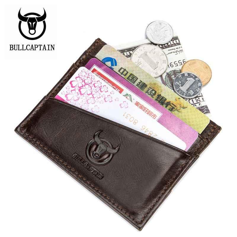 BULLCAPTAIN Quadrado Homens Bolsa Titulares de Cartão de Pequeno Mini Carteira carta de Condução Caso Do Cartão de Banco de Couro Da Senhora Cobre Cartões Coin Pocke