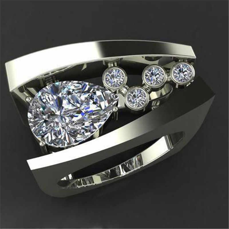 2019 ใหม่สีฟ้าสีดำ Zircon แหวนเงินชายหญิงสีงานแต่งงานเครื่องประดับแหวนหมั้นสำหรับชายผู้หญิง
