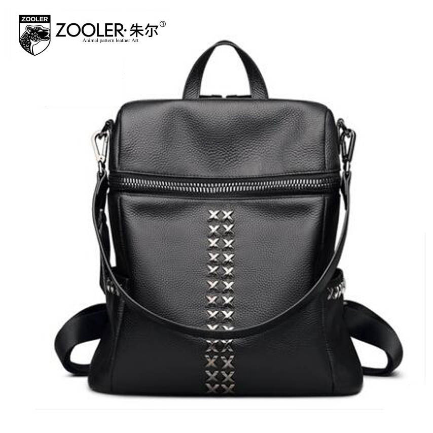2017 New zooler Genuine leather bag Superior cowhide rivet leisure simple  women backpack fashion leisure women famous brands