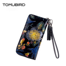 free delivery  Genuine Leather  women bag  Original embossing process Ethnic wind purse Bit multi-card zipper wallet