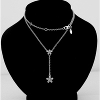 925 Sterling Silver Pendant Necklace 50CM 70CM Small Flower Diy Crystal Pendants Necklaces Women Sterling Silver