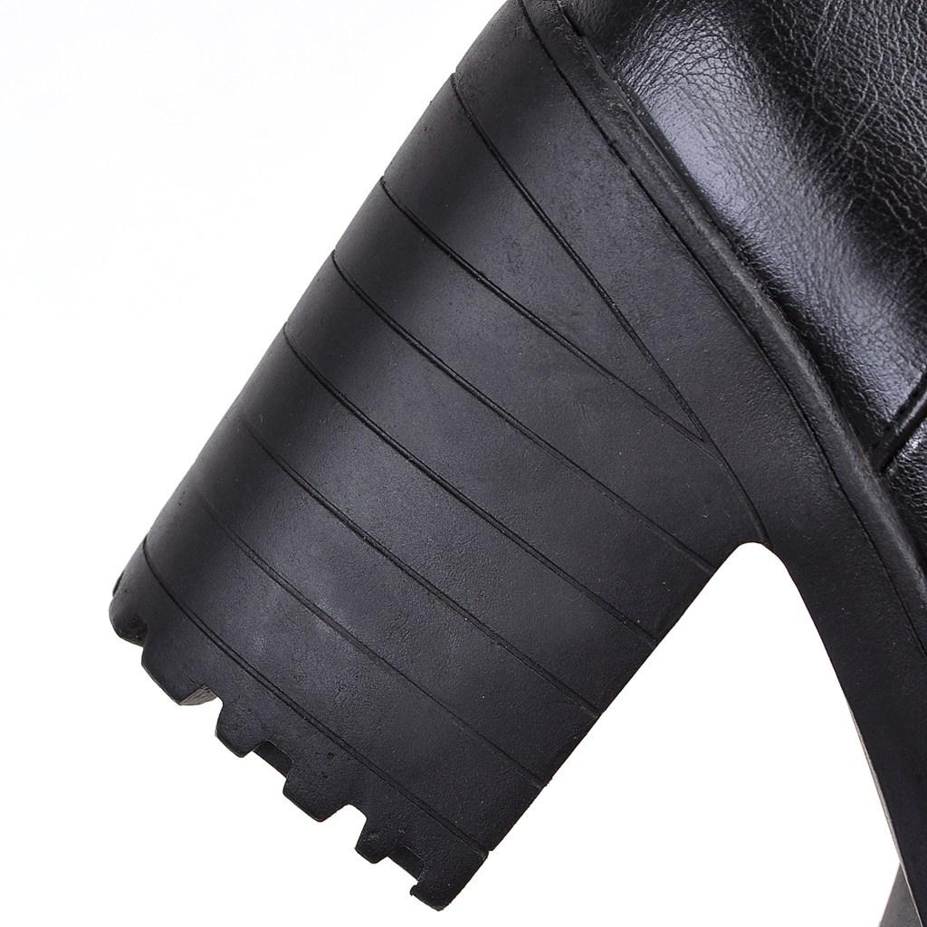 Mujeres Otoño Partido blanco Negro Moda Es Primavera Las 2019 Y Cuadrado Talón Alto Botas Negro Blanco De Tobillo Zapatos PEUR7wqC