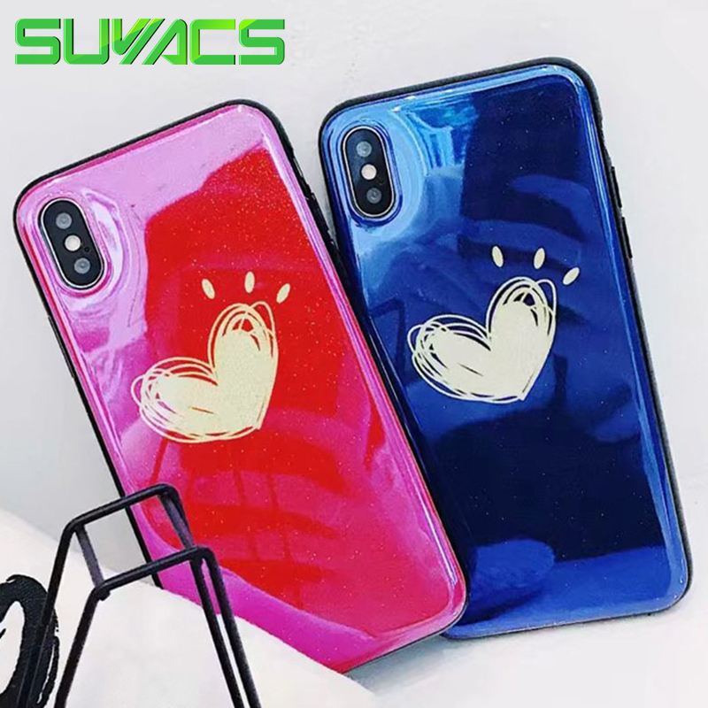 SUYACS Glossy Blu-Ray Phone Case For iPhone 6 6S 7 8 Plus X Romantic Hearts Graffiti Soft Silicon IMD Cases Cover Shells Capa