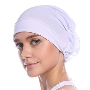 Image 2 - Haimeikang Cotton Women Muslim Stretch Turban Headband Women Flower Hair Bands Chemo Cap Head Wrap Hat Hair Accessories