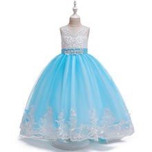 Girls Princess Belle Costume Long Style Trailing Lace Dress Bow-Knot Party Dresses Big girl Deluxe Wedding Gown