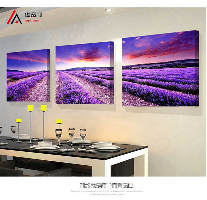 3P Beautiful Lavender fields Home Furnishing decorative the paintings the living room canvas painting modular wall painting