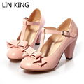 LIN KING Autumn Women Pumps PU Pointed Toe T-Strap Buckle Bowtie Sweet Lolita Shoes Thick Square Heel Platform Shoes Plus Size