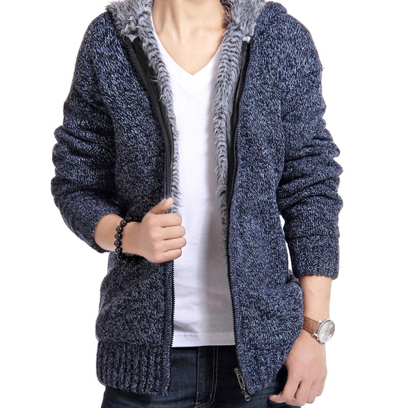 Men Jacket thick velvet cotton hooded fur jacket mens winter padded knitted casual sweater Cardigan coat Spring Outdoors parka