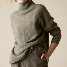JECH autumn and winter cashmere sweater womens knit warm loose front rear split long-sleeved coat