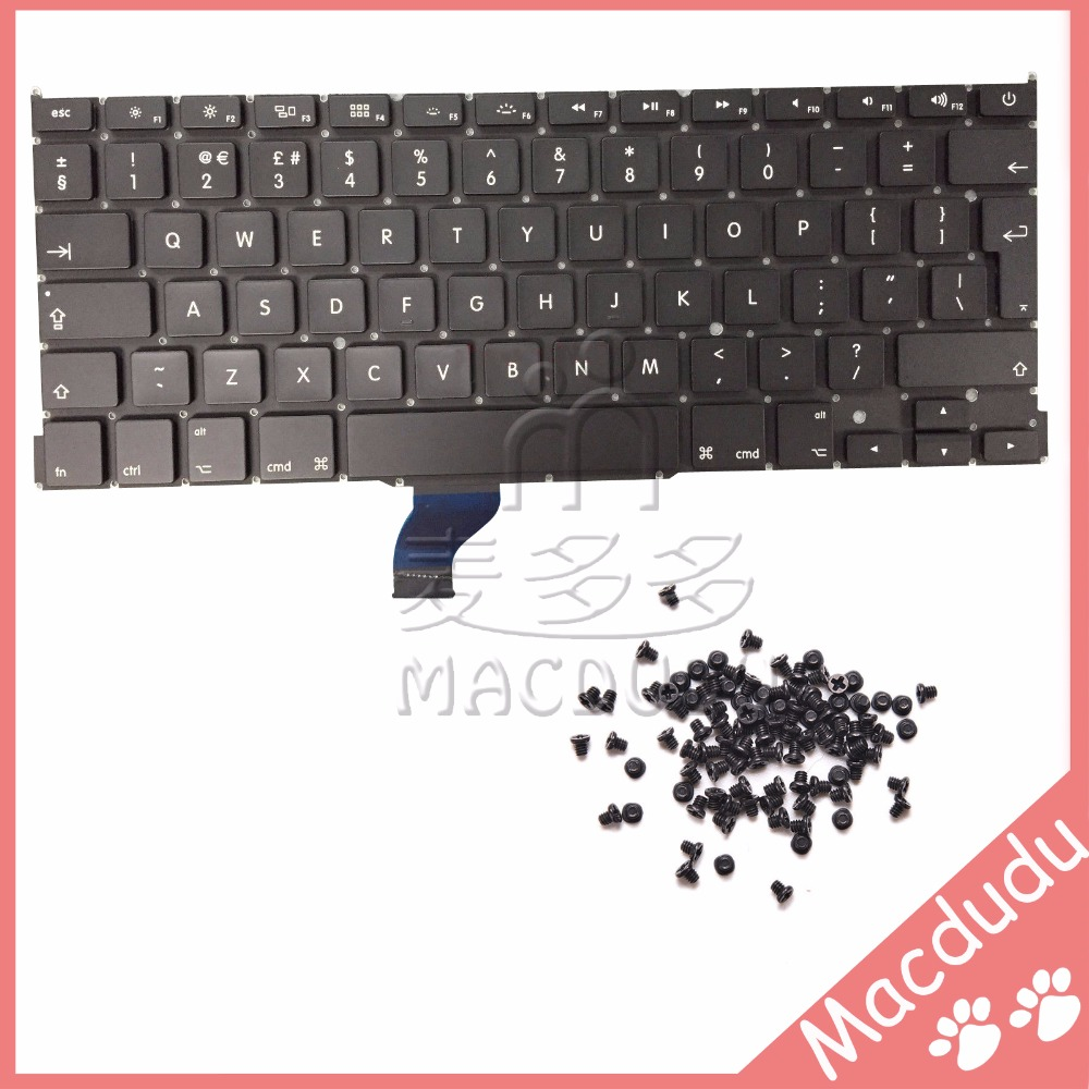 New UK Keyboard + keyboard screws For MacBook Pro Retina 13 A1502 2013 ME864LL/A ME866LL/A *Verified Supplier* original new a1502 top case with keyboard uk version for macbook pro retina 13 2013 2014