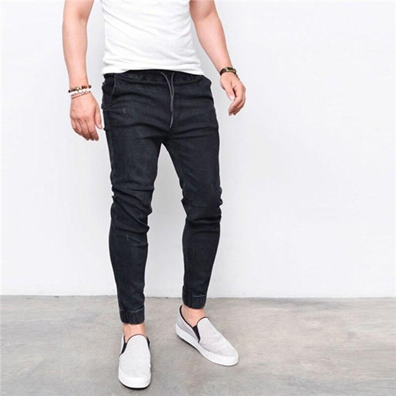 Fashion Drawstring waist pencil Pants casual biker jeans men slim denim pants washed long skinny trousers