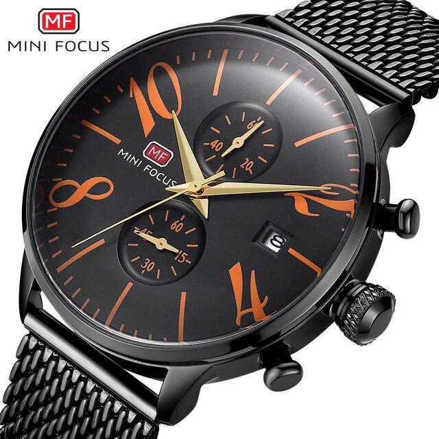 מיני פוקוס אופנה ספורט שעון גברים עמיד למים שחור נירוסטה גברים של שעונים אנלוגי קוורץ שעוני יד Relogio Masculino