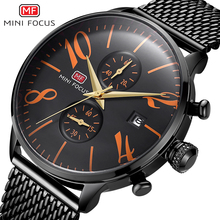 MINI FOCUS Mode Sport Horloge Mannen Waterdichte Zwart Rvs heren Horloges Analoge Quartz Horloges Relogio Masculino