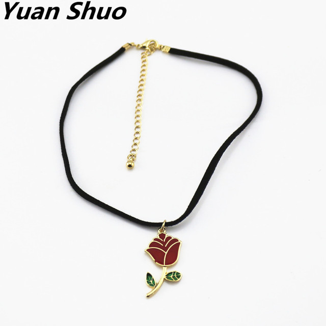 Fashion simple japanese style red rose enamel pendant necklace fashion simple japanese style red rose enamel pendant necklace women black cord necklace short chain 2016 mozeypictures Image collections