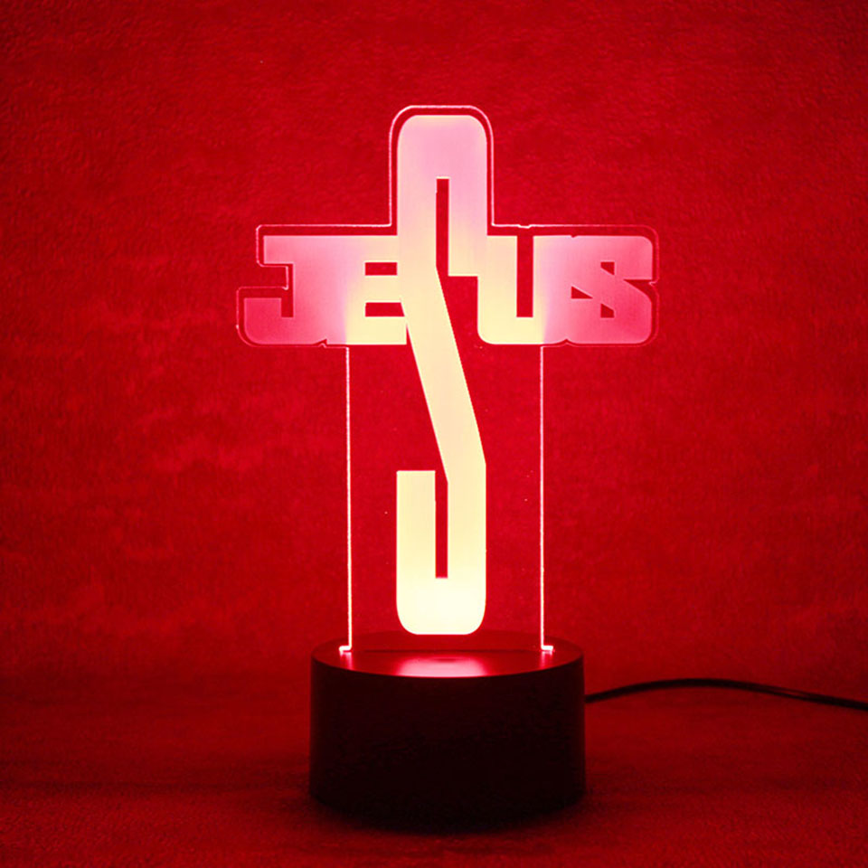 Creative 3D USB Led Visual Home Lighting Jesus Modeling NightLight Table Lamp Kids Decor Bedroom Bedside Letter Lighting Fixture