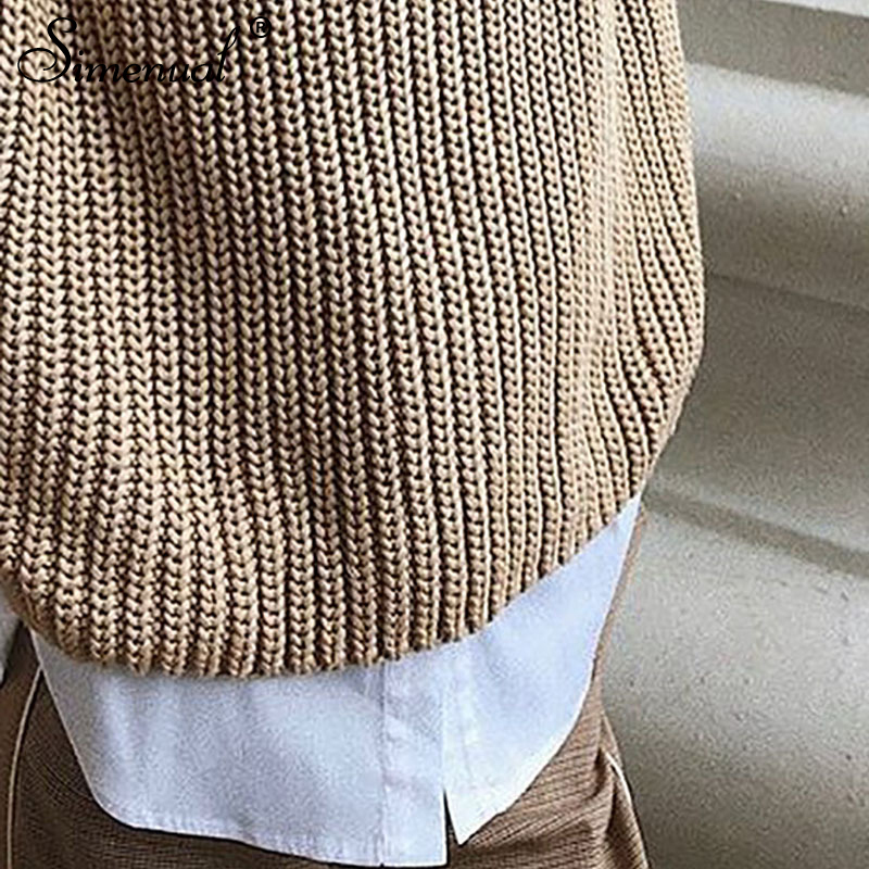 Simenual Casual Fashion Knitted Sweater Women 19 Autumn Winter Pullovers Jumpers Solid Basic Long Sleeve Slim Khaki Sweaters 6