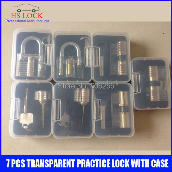 Hot sale 7 pcs transparent cutaways practice lock picks skilling set tools with Case hot sale cayler