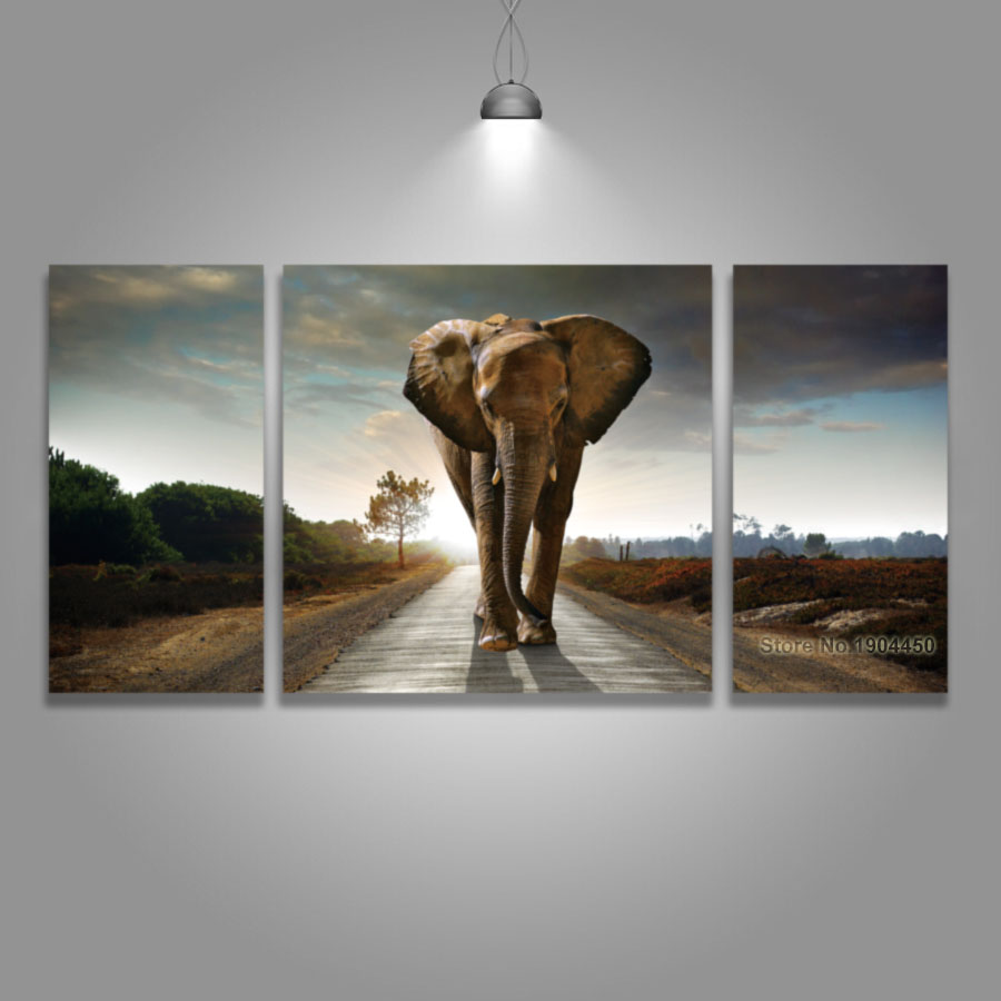Canvas Art Prints African Elephant Animal Sunset Landscape Painting Modular Picture for Wall Background Living Room Home Decor african elephant