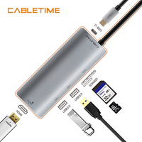 Cabletime USB C HUB HDMI 4K Type C to USB 3.0 SD & Micro SD Card Reader 5 in 1 USB C Charge For Galaxy S9/S8 PC MacBook Pro N130