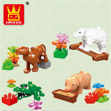 Retail Big Building Blocks- Pasture Animals Sheep Rabbit Dog Horse Pig Cat Cock Cow Compatible with Legoe Duplo Baby Toys
