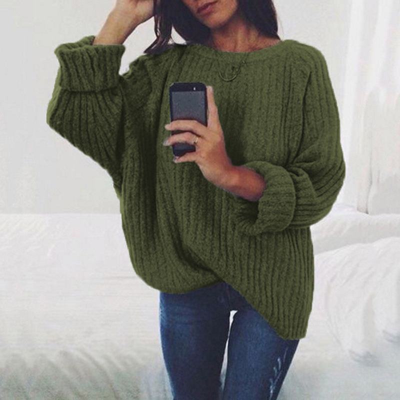 2019 New Autumn Spring Women Sweaters Fashion O-Neck Batwing Sleeve Pullovers Loose Knitted Sweaters Female Jumper Pull Tops