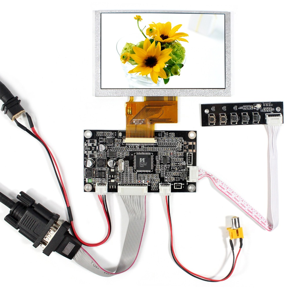 VGA AV LCD Controller board With 5inch 800x480 VS050T-001A LCD Screen