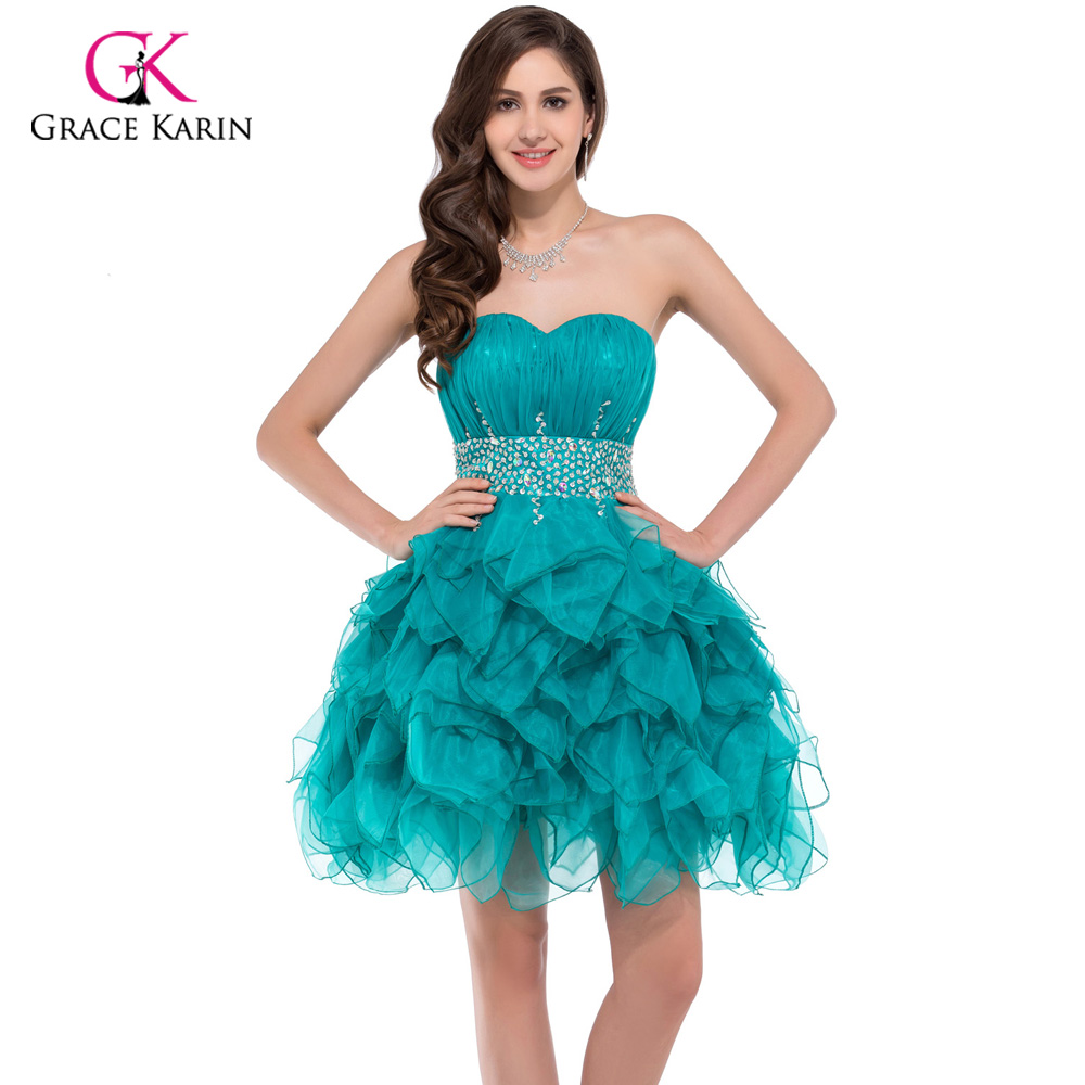 Short puffy Prom Dresses 2017 Grace Karin summer Turquoise coral ...