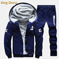 Man Tracksuit Good Quality Winter Promotion Full Fleece Zipper Regular Polyester Letter Casual Men Hoodie Pants Suit