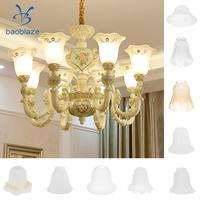 3 Pieces #1 Frosted Glass Ribbed Bell Light Shades Chandelier Lamp Pendant