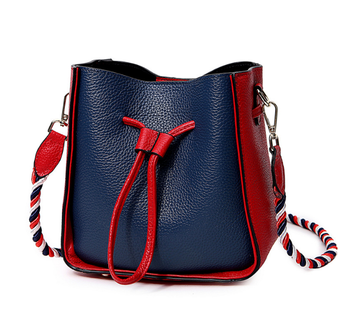 Fashion Female Contrast Color Shoulder Bag Ladies Genuine Leather Drawstring Bucket Bags Creative Colorful Belt Woman BagL186 buttoned contrast side drawstring shorts