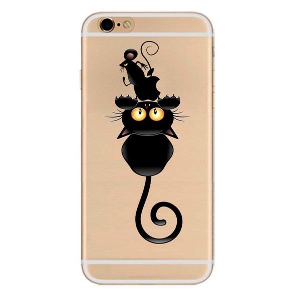 Untuk Apple Iphone 6 6 S 7 Ditambah Kasus Hitam Sketsa Kartun Hewan