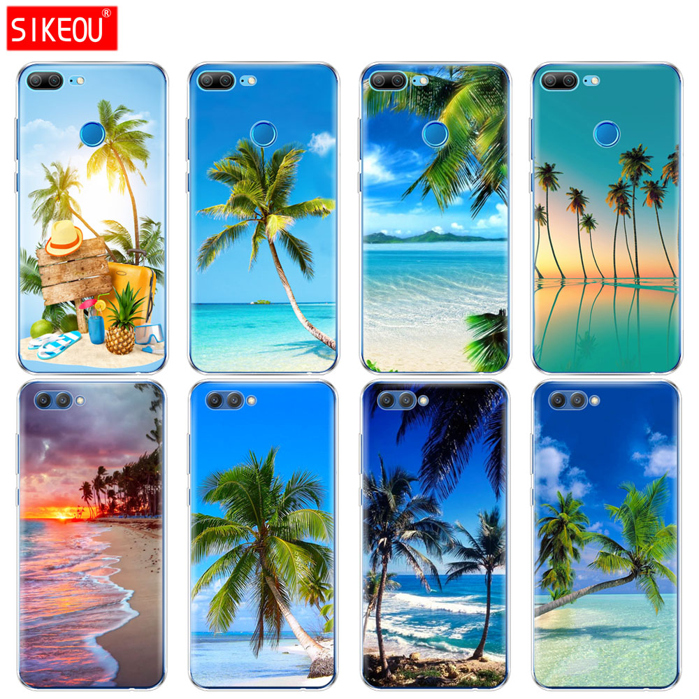 Silicone Cover phone Case for Huawei Honor 10 V10 3c 4C 5c 5x 4A 6A 6C pro 6X 7X 6 7 8 9 LITE summer Scene  Sunset sea Palm Tree