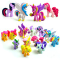 12Pcs/lot Very cute Little Horses Vinyl Doll Pet Shop Anime Figure Set horse Pvc Action Figures Garage Kit model baby kids gift