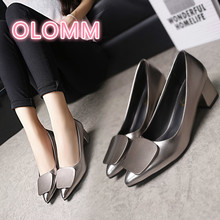 Spring and Autumn 2019 New thick-heeled single-shoe Professional work shoes with Black high heels