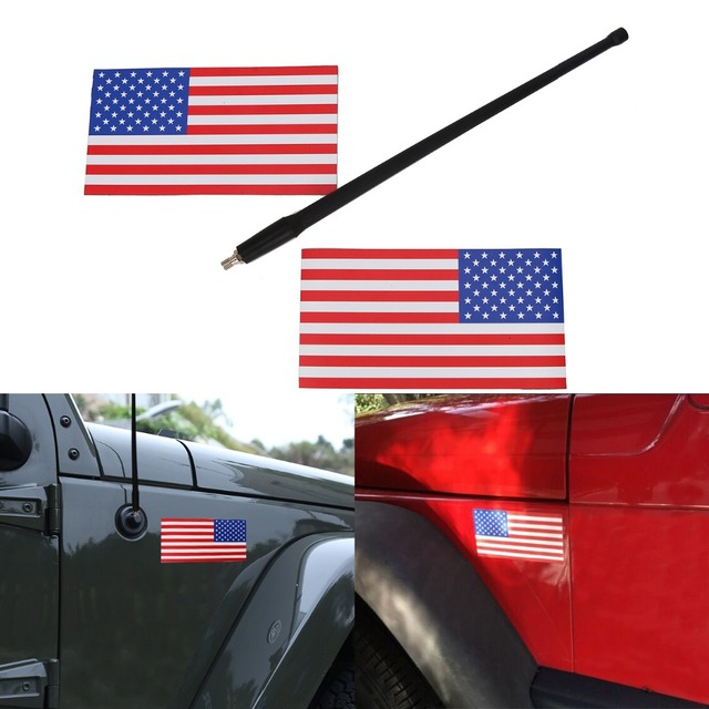 13 antenna for jeep wrangler jk 2pcs magnetic united states flags decal america