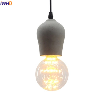 Фотография IWHD Cement Hanglamp Modern Pendant Lights Fashion Edison Bulb Pendant Light Fixtures Kitchen Dining Luminaire Suependu Lampen