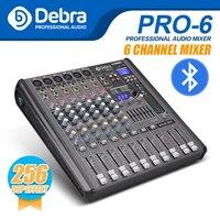 Professional Debra Audio PRO 6 Channel with 256 DSP Sound Effects Bluetooth Studio Mixer Audio DJ Sound Controller Interf