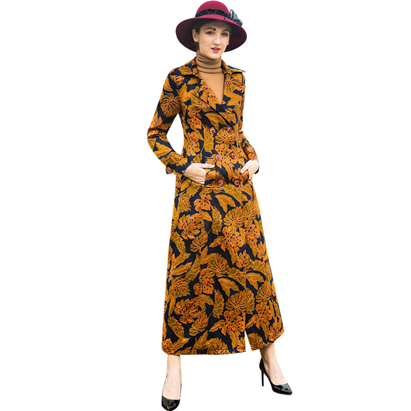 Trench   Coat for Women Windbreaker Spring Autumn Long Coat Turn-down Collar Double Breasted Overcoat Runway Maxi Coat 9085