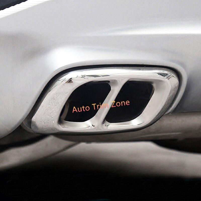 Acier inoxydable 2 pièces argent arrière tuyau d'échappement couvercle de sortie garniture pour Benz GLA 2014-2017X156