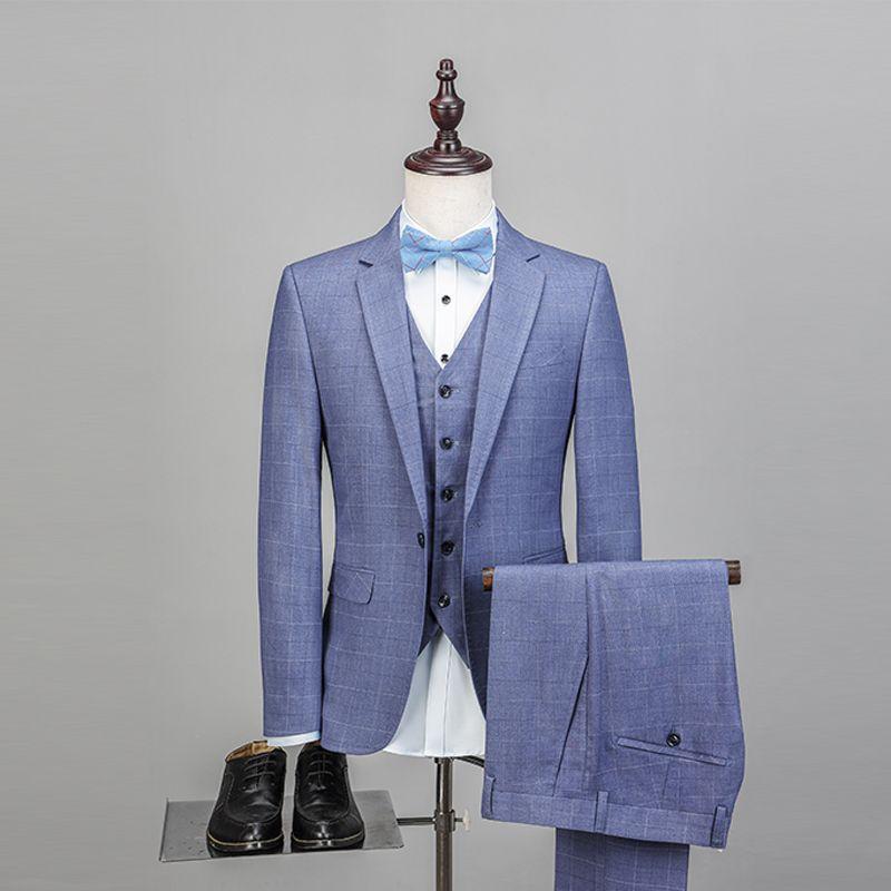 Marque de mode bleu hommes costumes Plaid Style Slim Fit Blazers homme costumes veste Blazers mariage marié bal smoking formel 3 pièces
