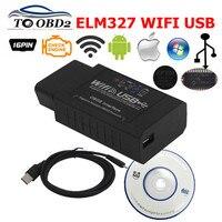 ELM327 WIFI USB V2.1 OBD2 диагностический инструмент ELM 327 2,1 WIFI с чипом PIC18F25K80 и FT232RQ работает с системой Android Torque/iOS/ПК