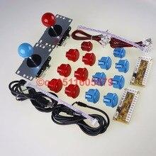 12X SANWA OBSF-30 & 2 X China Push Buttons + SANWA Joysticks+ 2x PC Encoder For Raspberry Pi & For Windows Systems Kits-Blue+Red