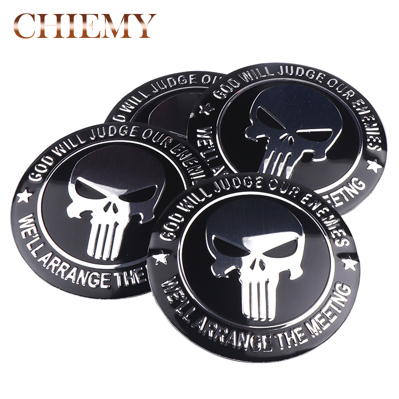 4pcs 56mm Punisher Skull Logo Aluminum alloy Car wheel center hub caps Aluminum Emblem Badge Sticker Car styling Accessory-in Car Stickers from Automobiles & Motorcycles