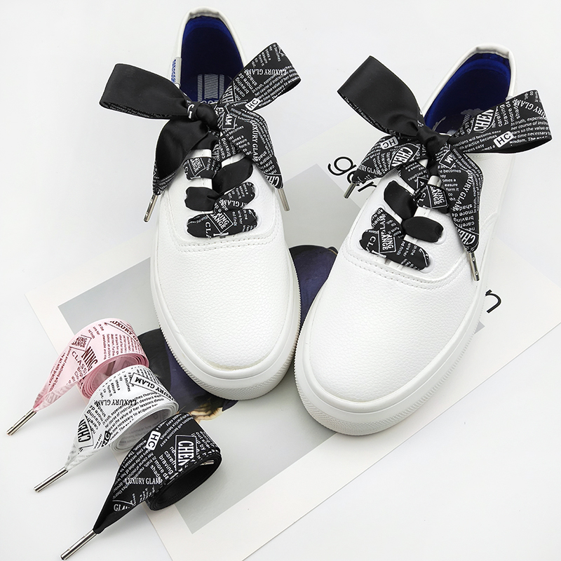 2.5 Cm  Letter Printing Satin Shoelaces Black White Pink Color 80/100/120/140 Cm Bowknot Sneaker Sport Shoes White Shoes Laces