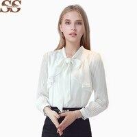 Women White Chiffon Blouse Bow Female Shirt Long Sleeve Tops Chemise Femme Blusa Feminina Casual Blouses