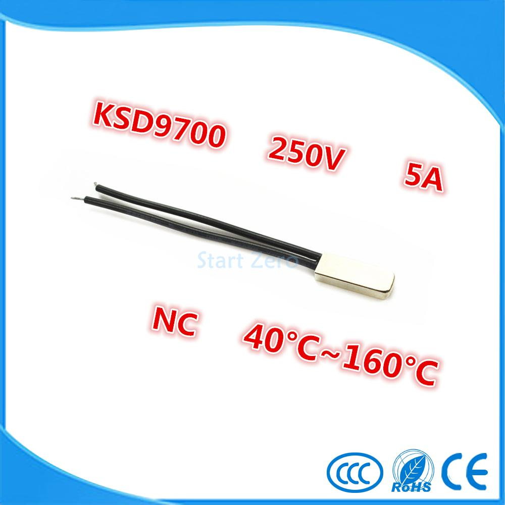 2PCS KSD9700 250V 5A Bimetal Disc Temperature Switch N/C Thermostat Thermal Protector 40~135 degree centigrade купить