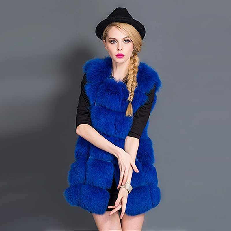 Fashion Style Women's Winter Jacket Faux Fur Coat Vest Stripe Medium-Long Vest Large Size For Women Girls