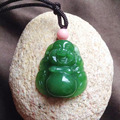 Beautiful natural hetian Jasper hand-carved Laughing Buddha pendant Women patron saint green jade Buddha necklace pendant jewelr