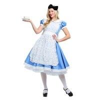 Genuine Deluxe Alice S Adventures In Wonderland Women Apron Costume Halloween Party Elegant Adult Disfraces Cosplay