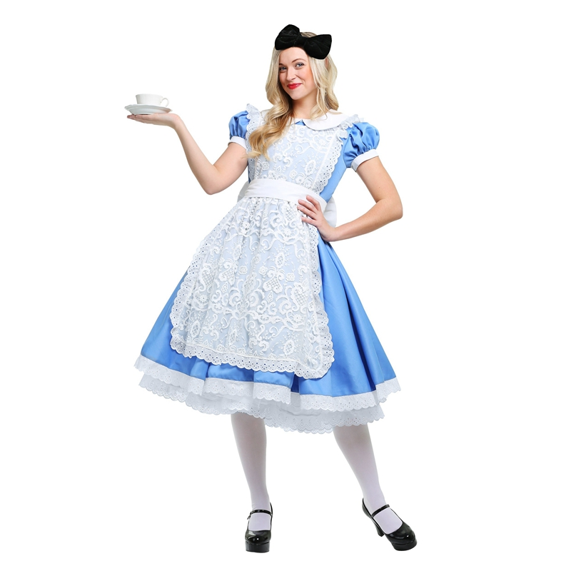 Genuine Deluxe Alice's Adventures In Wonderland Women Apron Costume Halloween Party Elegant Adult Disfraces Cosplay